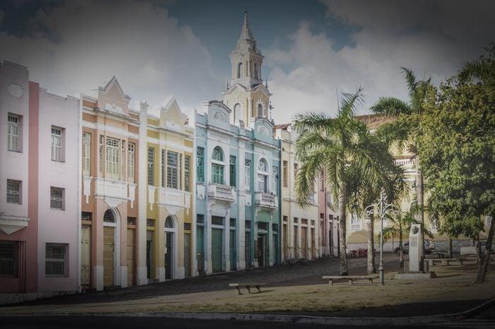 Colorful houses of Antenor Navarro Square at historic Center of Joao Pessoa - Joao Pessoa, Paraiba, Brazil