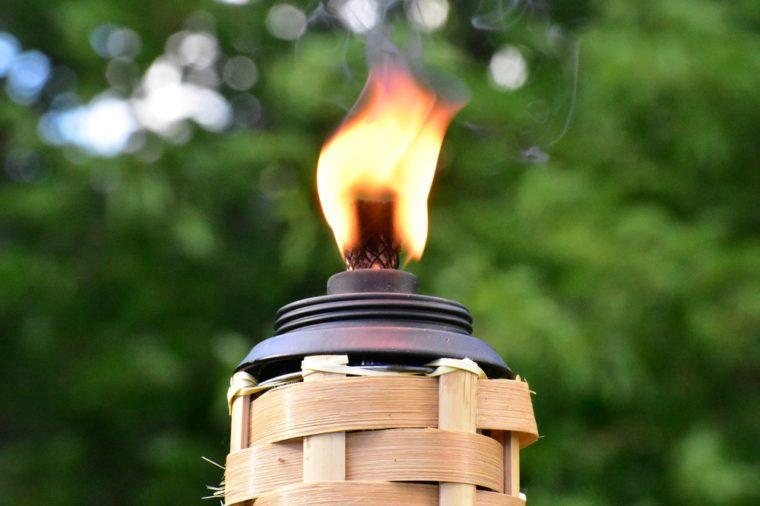 Flaming tiki torch.
