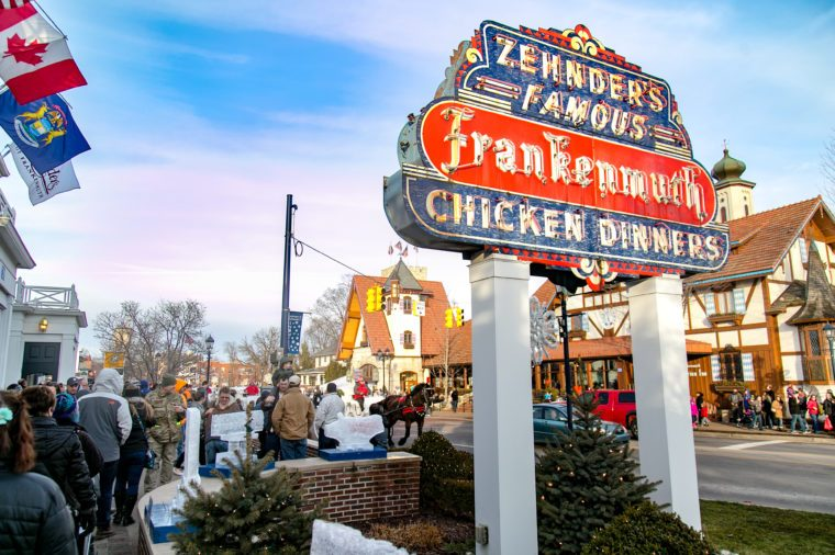 Families wait in a line outside Zehnder's in Frankenmuth to share a delicious and warm chicken dinner during Zehnder's Snowfest.