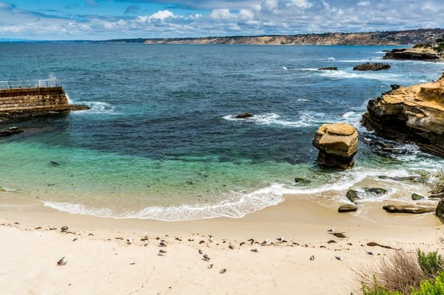The Blue Waters of the Pacific Ocean Coastline Along the Beach of La Jolla, California.