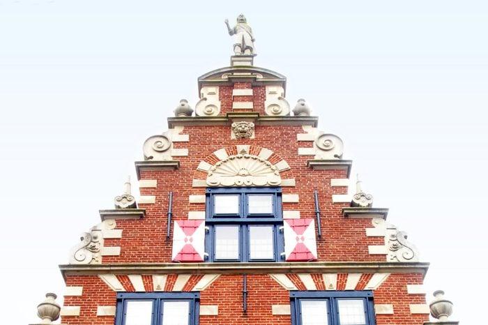 Ornate front of the Zwaanendael Museum in Lewes, Delaware.