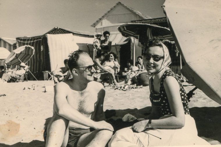 Vintage photo of couple on beach, forties