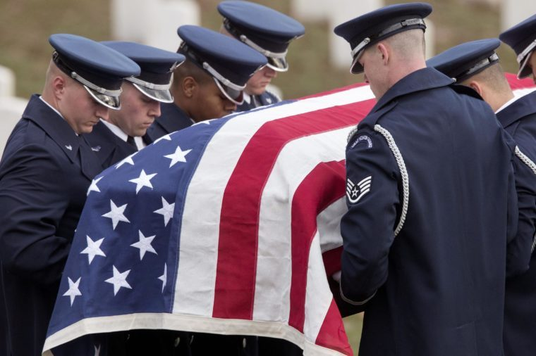 A Us Air Force Casket Team Holds the Flag-draped Casket of Us Air Force Colonel David Banholzer During a Funeral Service at Arlington National Cemetery in Arlington Virginia Usa 07 December 2016 Colonel Banholzer was the Fourteenth Presidential Pilot in Us History Banholzer Served in the Air Force For More Than 24 Years En Route to Earning the Prestigious Air Force One Commander Position He Died 04 November 2016 After a Fight with a Malignant Brain Tumor United States Arlington