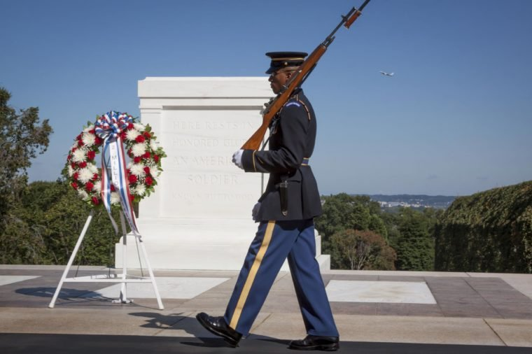 One of the sentinels from the 3rd U.S. Infantry Regiment maintaining a 24-hour, 365 days a year vigil at the Tomb of the Unknown Soldier in Arlington National Cemetery.