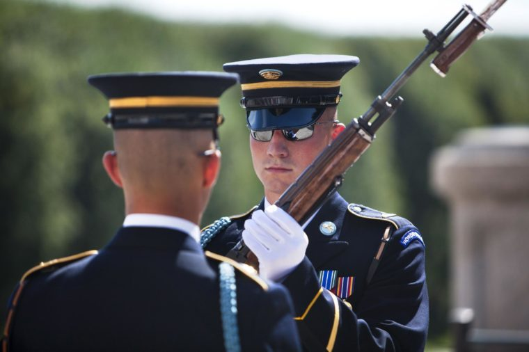 Two Guards of Honor Stands Before the Tomb of the Unknown Soldier in Arlington National Cemetery Just Outside Washington Dc in Arlington Va Usa on 30 July 2010 a Senate Report Released Yesterday Revealed That As Many As 6600 Graves Were Likely to Be Incorrectly Marked United States Arlington