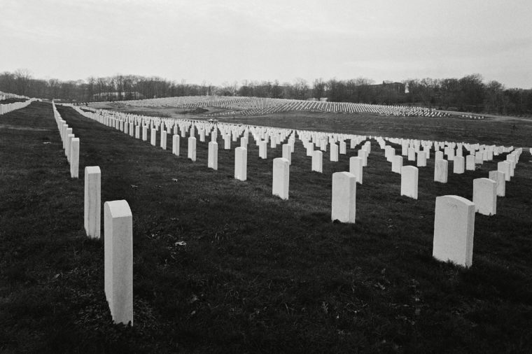 Photo shows tomb stones in new section of Arlington National Cemetery shown