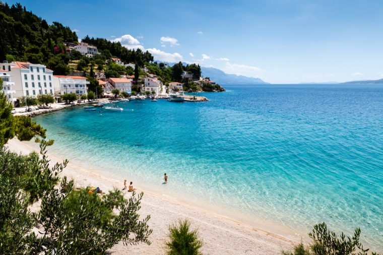 Beautiful Adriatic Beach and Lagoon with Turquoise Water near Split, Croatia