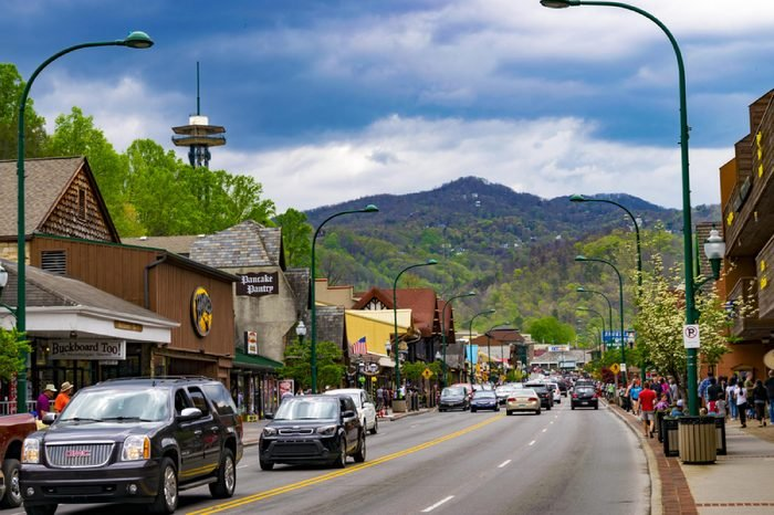 Gatlinburg, TN; April 16, 2017: A shot of a main street in Gatlinburg, Tennessee.