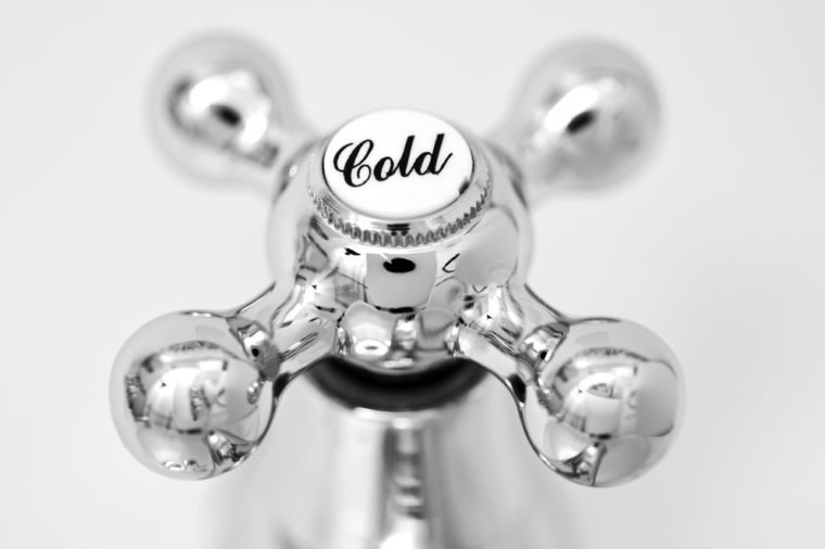 Cold tap; close-up image of cold tap or faucet, covered with condensation; strong differential focus