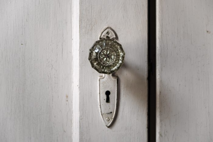 Crystal doorknobs in an old abandoned house.