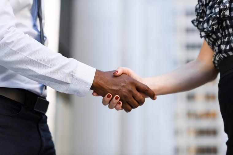 International colleagues handshake in outdoor meeting