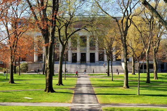 College campus in the spring