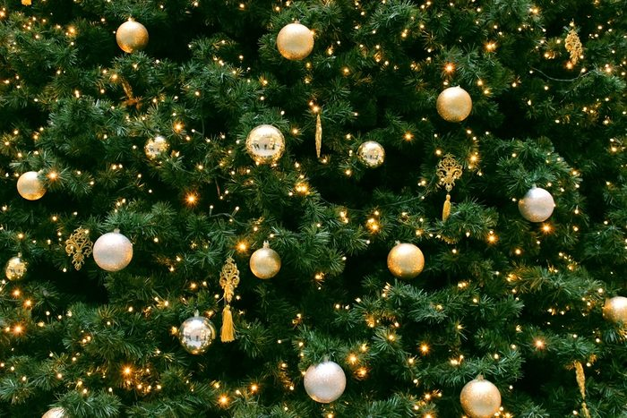 Ornaments and lights on the Christmas tree