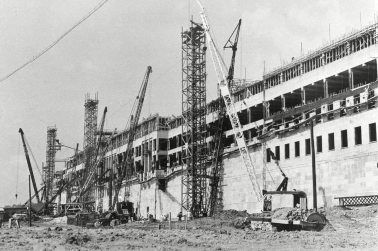 This is a 1942 photo of the early construction of the Pentagon in Arlington, Virginia. The groundbreaking ceremony took place on . The building was dedicated on January 15, 1943, nearly 16 months to the day after the groundbreaking