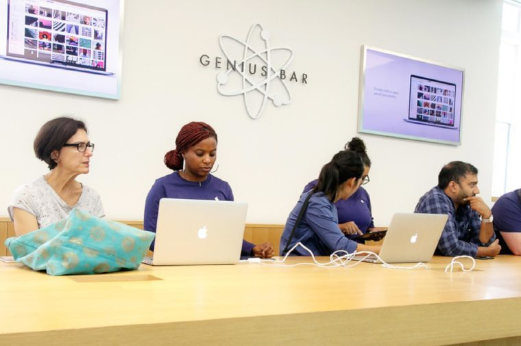 New York, September 25, 2017: Apple customers are receiving help at the Genius bar section of an Apple store.