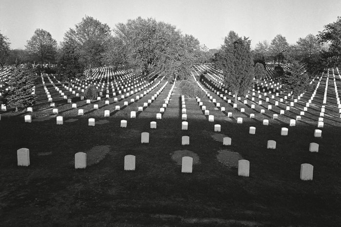 Arlington National Cemetery, where more than 97,000 of the nation's military dead are buried in Arlington, Virginia, is shown on Veterans Day