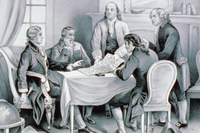 The Declaration Committee working on The Declaration of Independence; (left to right) Thomas JEFFERSON 1743-1826 , Roger SHERMAN 1721-1793, Benjamin FRANKLIN 1706-1790, Robert R. LIVINGSTON 1746-1813, and John ADAMS 1735-1826, lithograph by Currier & Ives, 1876.