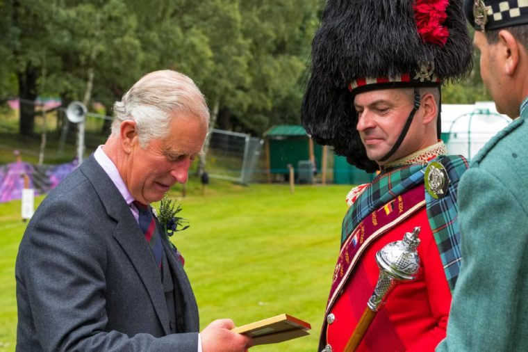 BALLATER, ABERDEENSHIRE, SCOTLAND - 11 AUGUST: This is Charles, Duke of Rothesay and Prince of Wales at Ballater Highland Games, Aberdeenshire, Scotland on 11 August 2016.