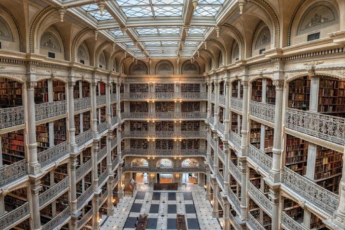 BALTIMORE, USA - JUNE 23, 2016 Bookshelf inside Peabody Library a research library for John Hopkins University