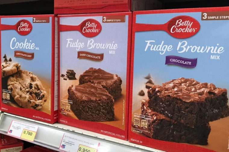 Close up view of Betty Crocker brand of cookie and brownie mixture lined up on shelves in the market. Baking cake for preparation of having it on Eid Mubarak.