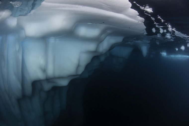 Underwater view of an iceberg along the east coast of Greenland.