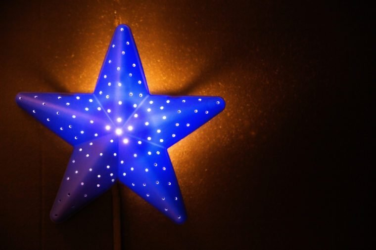photo of nightlight in the shape of a star in the children's room