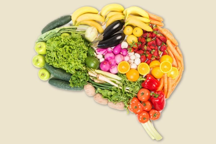 Brain made out of fruits and vegetables