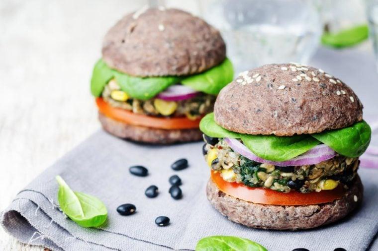 quinoa black bean spinach corn burgers with black beans bun crust. toning. selective Focus