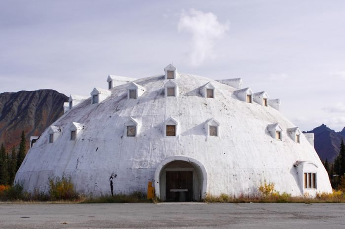 Cantwell, Alaska - September 5 2009: The famous abandoned Igloo City Hotel stands in the middle of nowhere by the Highway 3.
