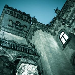 Spooky dark castle house Halloween