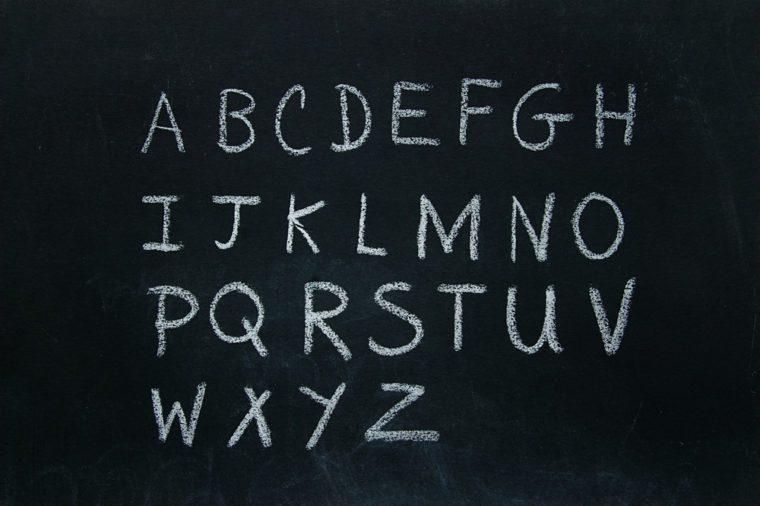 Alphabet letters written in chalk on blackboard