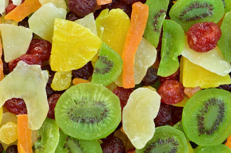 Different dried fruits background