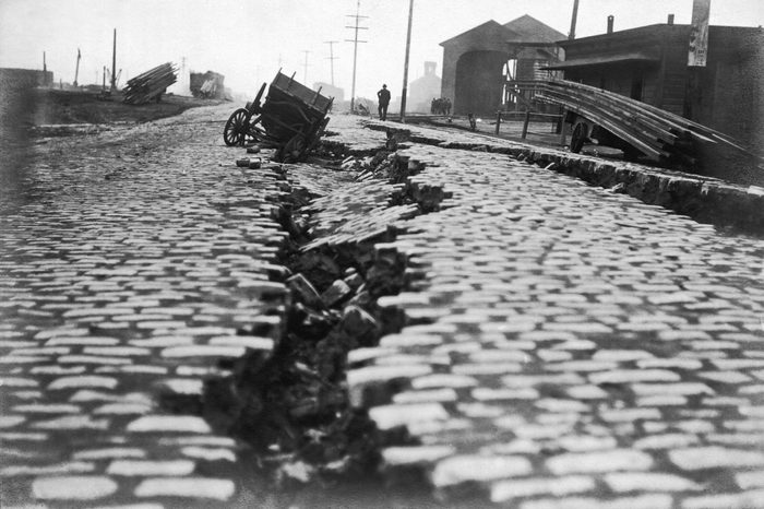 San Francisco, California: 1906. A split on the north end of East Street from the earthquake. East St. is now the Embarcadero.