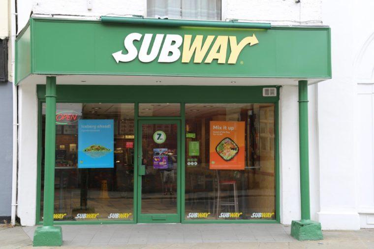 Oswestry, Shropshire, UK, 7 July 2017. Subway fast food shop.