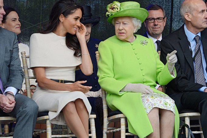 Meghan Duchess of Sussex and Queen Elizabeth II open the Mersey Gateway Bridge