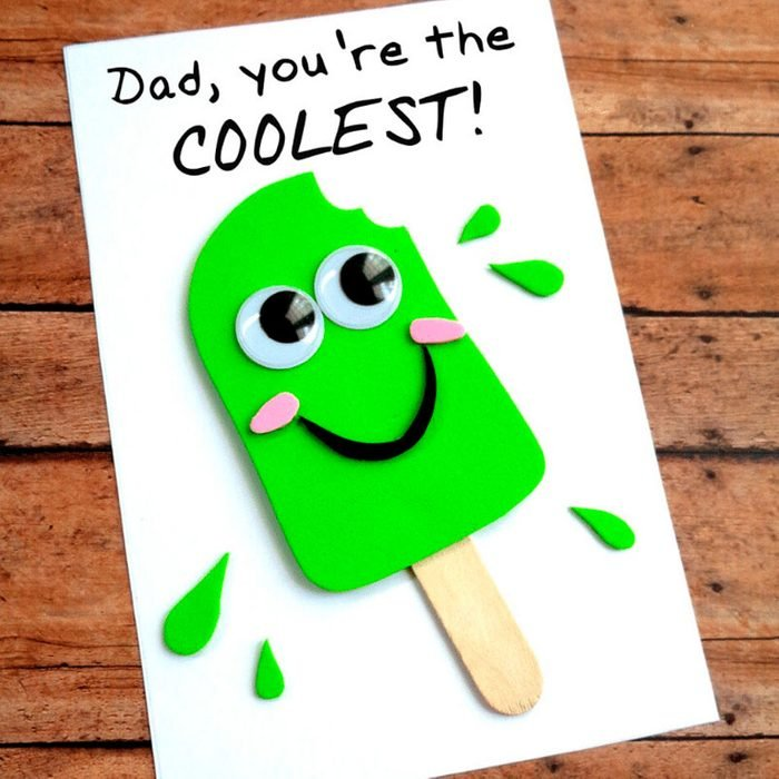 popsicle fathers day card craft idea