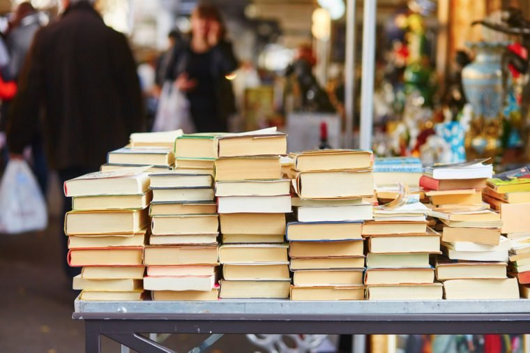 Old books on a Parisian flea market