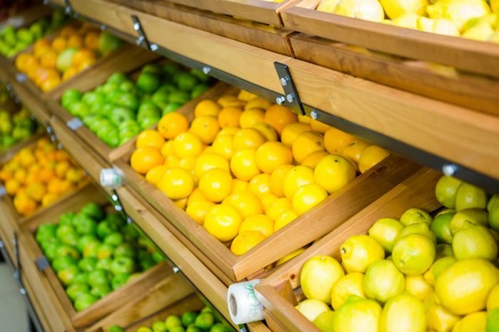 Close up view of vegetable shelf in supermarket