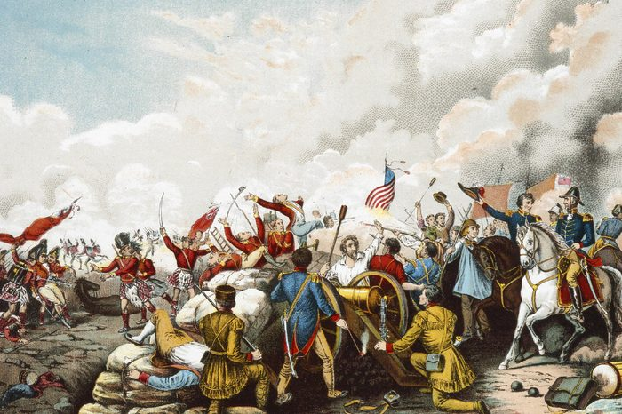 General Andrew Jackson's victory at New Orleans January 8, 1815, the final battle of the War of 1812 between the United States of America and Great Britain. colour lithograph from Columbus and Columbia, 1893