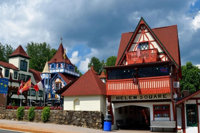 HELEN, GEORGIA, USA - AUGUST 22, 2017: Helen, Georgia is located in White County and is a replica of a Bavarian Alpine town. The city is well known for its Oktoberfest from September to November.
