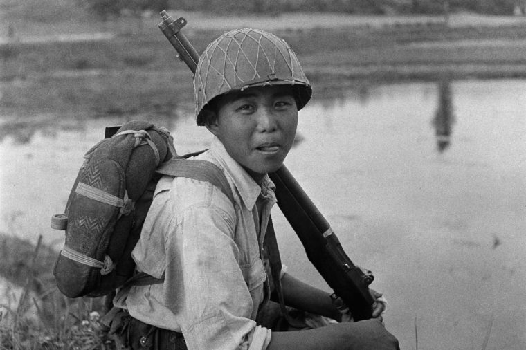 This is a South Korean soldier resting, near the 38th parallel in his long battle against the inroads of communism into this country. On June 25, North Korean communist troops invaded American-sponsored South Korea in a surprise onslaught