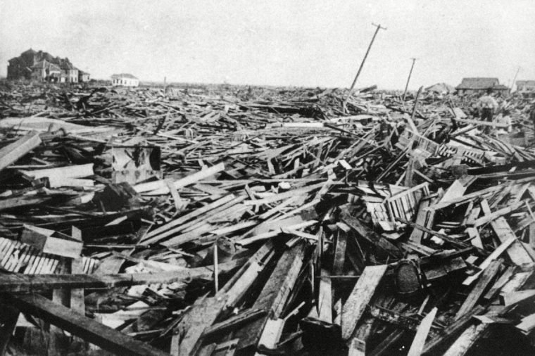 GREAT STORM A large part of the city of Galveston, Texas was reduced to rubble, as shown in this September 1900 photo, after being hit by a surprise hurricane . More than 6,000 people were killed and 10,000 left homeless from the Great Storm which remains the worst natural disaster in U.S. history