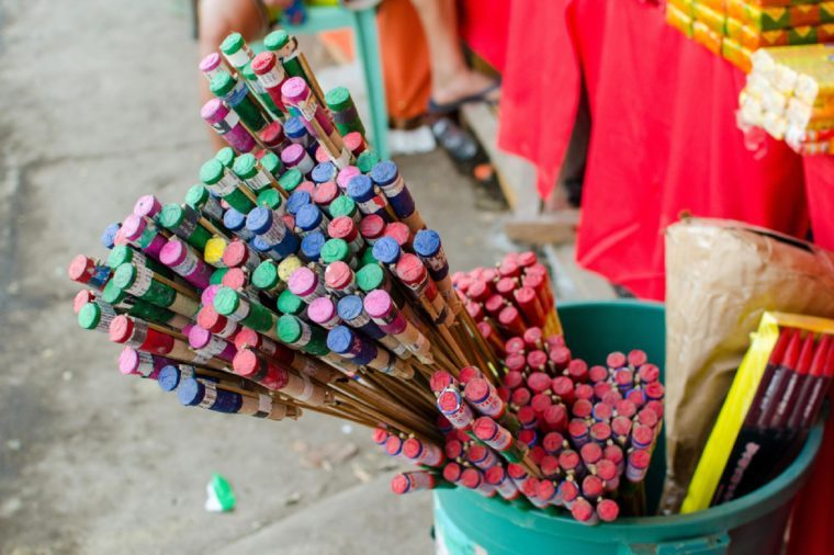 Iriga City, Philippines - December 2016: Fireworks on display for public buying