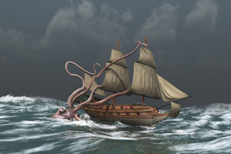 Kraken attacking an ancient ship