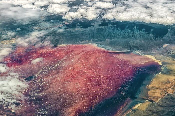 Lake Natron in Tanzania in Africa
