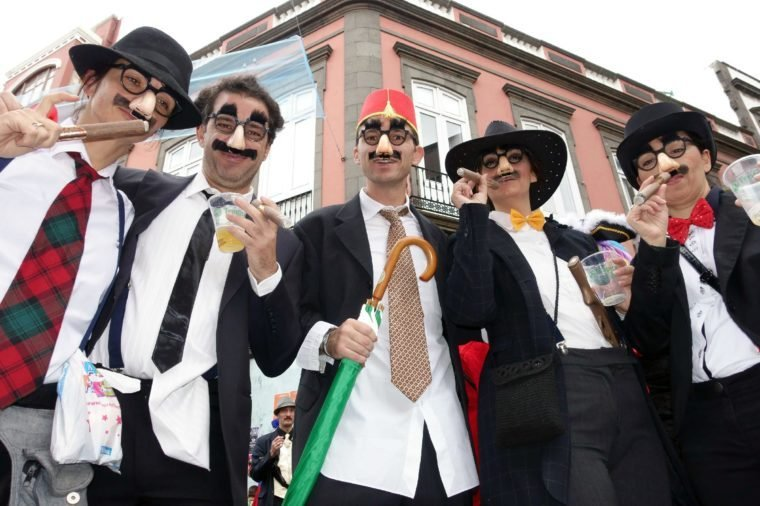 Las Palmas de Gran Canaria Carnival, Canary Islands, Spain - Carnival goer dressed as Groucho Marx