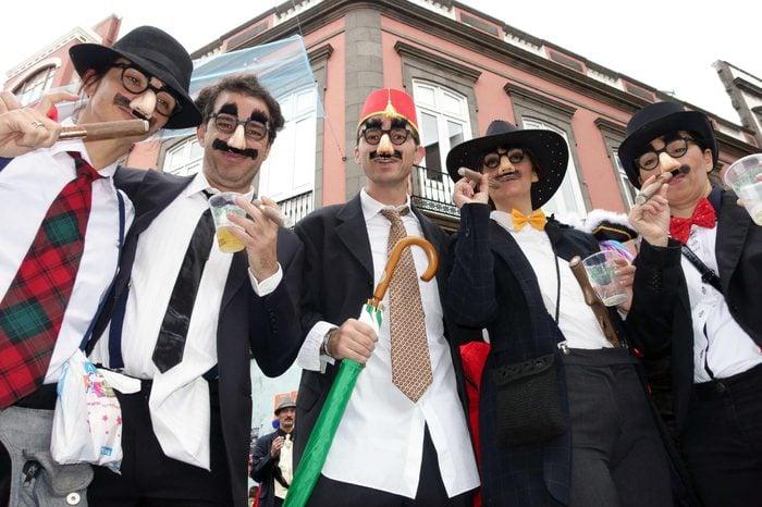 Las Palmas de Gran Canaria Carnival, Canary Islands, Spain - Carnival goer dressed as Groucho Marx