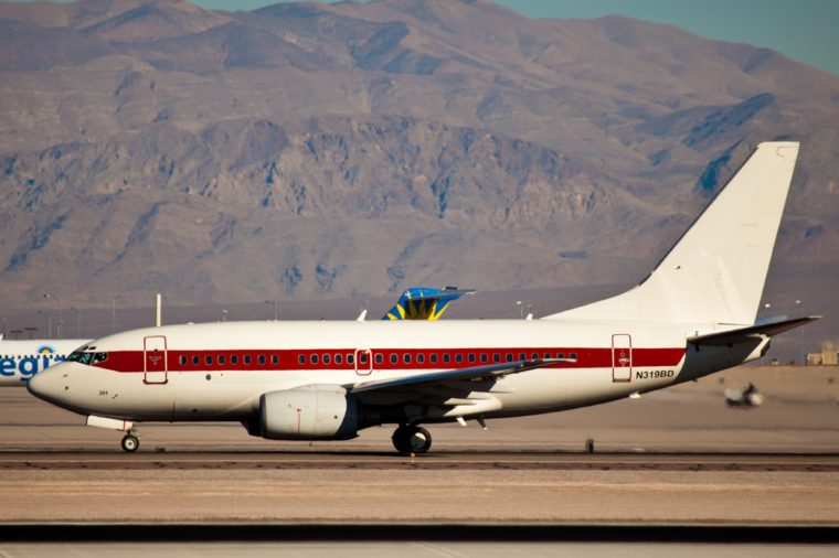 LAS VEGAS - NOVEMBER 12:Boeing 737-200 of Janet airline taking of from KLAS Airport in Las Vegas, USA on November 12, 2010 Janet is a call sign used by planes transporting employees to famous AREA 51