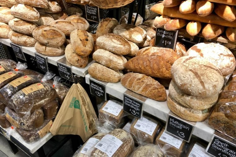LONDON - APRIL 5, 2018: Freshly Baker artisanal bread products on sale at Whole Foods Market in Piccadilly Circus, Westminster, London, UK.
