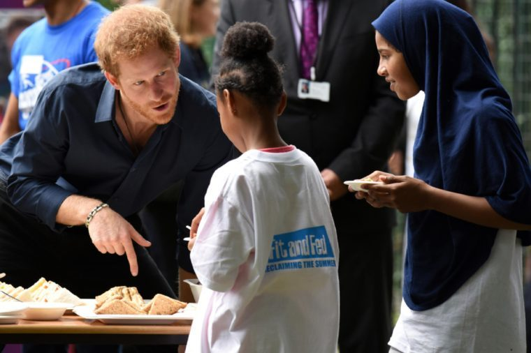 London, UK. 28 July, 2017. Prince Harry visits Streetgames' Fit And Fed initiative.
